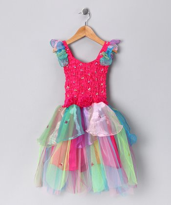 Fuchsia Rainbow Abigail Dress - Girls