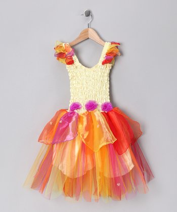Yellow & Orange Abigail Dress - Girls