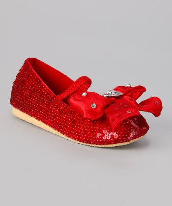 Red Sequin Crystal Bow Flat
