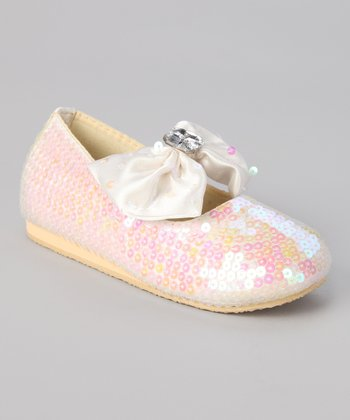 Ivory Sequin Big Bow Flat