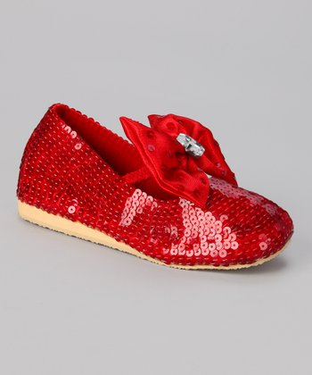 Red Sequin Big Bow Flat