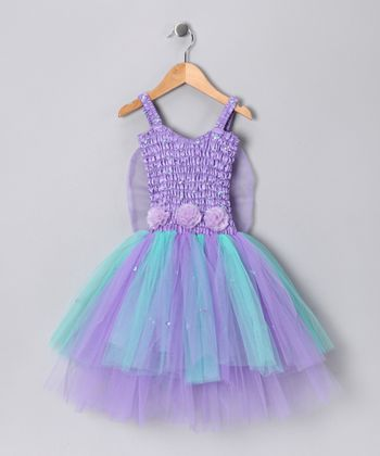 Light Purple & Turquoise Ava Dress - Girls