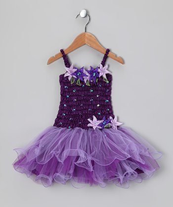 Dark Purple Flora Dress - Girls