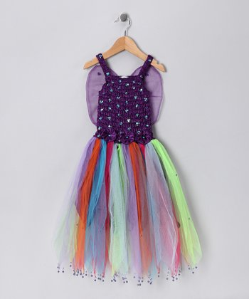 Dark Purple Rainbow Seraphina Dress - Girls