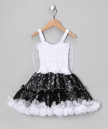 White & Black Lacey Dress - Toddler & Girls