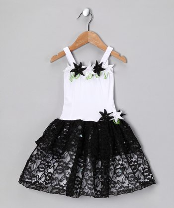 White & Black Tiffany Dress - Toddler & Girls