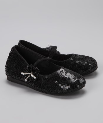 Black Sequin Daisy Flat