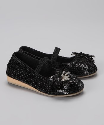 Black & Silver Bead Flower Flat