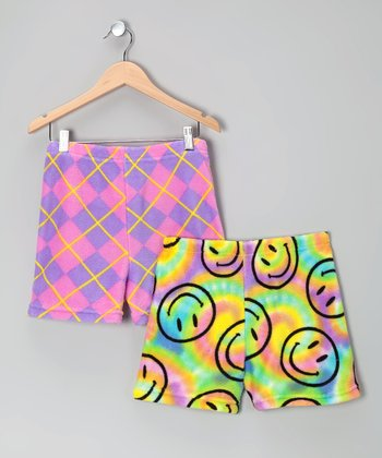 Purple & Pink Plush Shorts Set - Girls