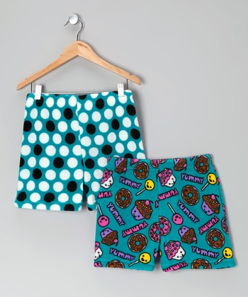 Blue Polka Dot Cupcake Boxers Set - Girls