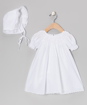 White Smocked Bishop Christening Gown & Bonnet - Infant