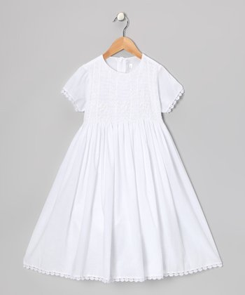 White Smocked Scalloped First Communion Dress - Girls
