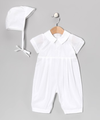 White Embroidered Cross Romper & Bonnet - Infant