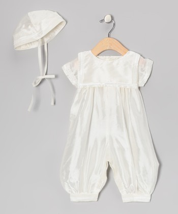 White Silk-Blend Sailor Romper & Hat - Infant