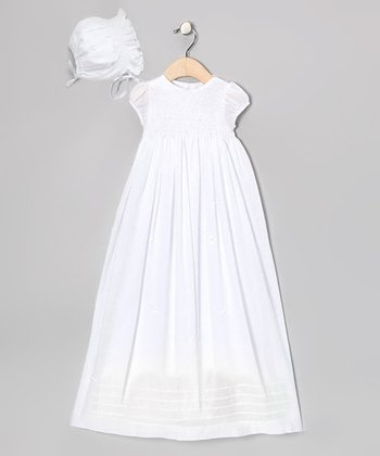 White Honeycomb Smocked Rosette Dress & Bonnet - Infant