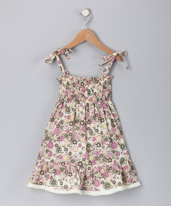Fuchsia Floral Tie Dress - Girls
