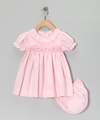 Pink Smocked Ruffle Collar Dress & Diaper Cover - Infant