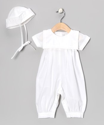 White Square Collar Playsuit & Beanie - Infant