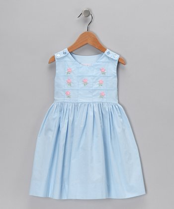 Blue & Pink A-Line Dress - Infant