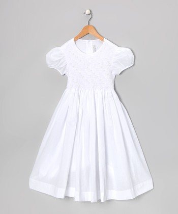 White Smocked Pearl Puff-Sleeve Dress - Girls