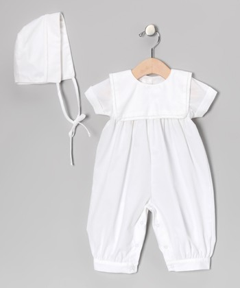 White Square Collar Playsuit & Bonnet - Infant