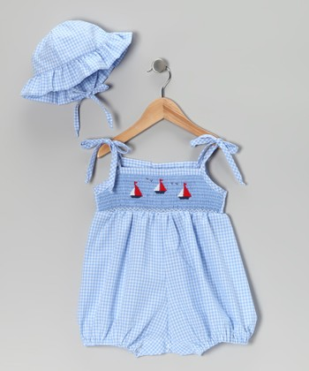 Blue Gingham Sailboat Romper & Hat - Infant