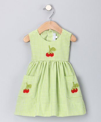 Lime Cherry Gingham A-Line Dress - Infant & Toddler