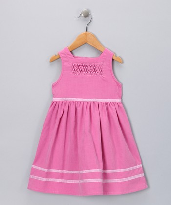 Pink Smocked Corduroy Dress - Toddler & Girls
