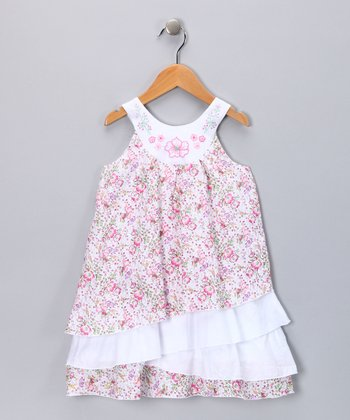 Pink Floral Yoke Dress - Infant, Toddler & Girls