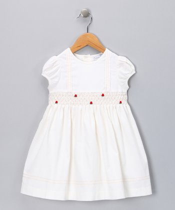 Ivory Smocked Rose Dress - Toddler & Girls