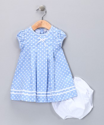 Blue Polka Dot Dress & Diaper Cover - Infant