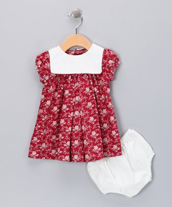 Red Floral Dress & Diaper Cover - Infant