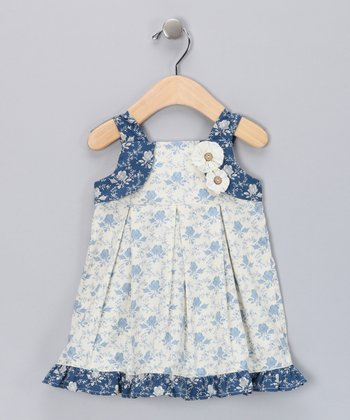 Blue & Ivory Rosette Babydoll Dress - Infant