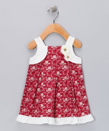 Red & Ivory Rosette Babydoll Dress - Infant