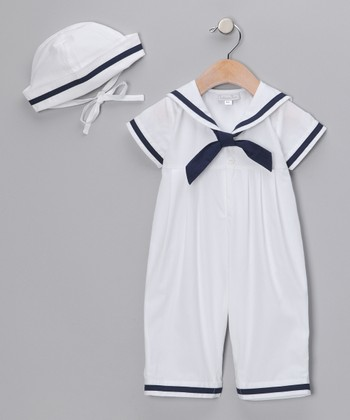 White Sailor Playsuit & Cap - Infant