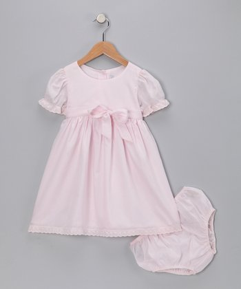 Pink Bow A-Line Dress & Diaper Cover - Infant & Toddler