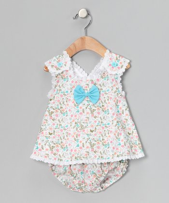 Aqua Floral Eyelet Swing Top & Diaper Cover - Infant