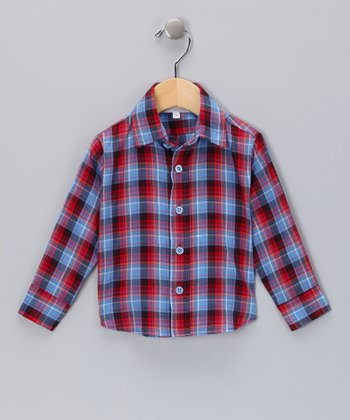 Red & Navy Plaid Button-Up - Infant, Toddler & Boys
