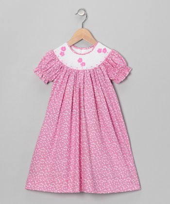 Pink Flower Bishop Dress - Infant & Toddler