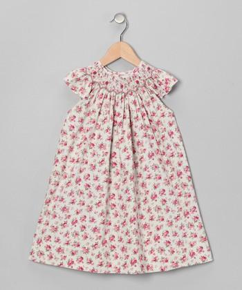 Pink Floral Smocked Angel-Sleeve Dress - Infant