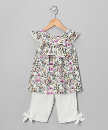 Green Bow Top & White Pants - Infant & Toddler