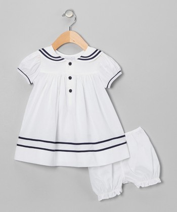 White Sailor Babydoll Dress & Bloomers - Infant