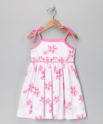 Pink Hibiscus Smocked Tie Dress - Toddler
