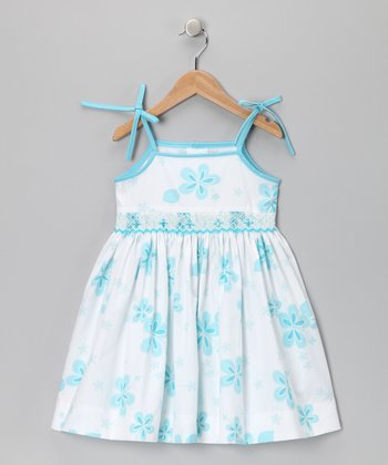 Aqua Hibiscus Sequin Dress - Girls