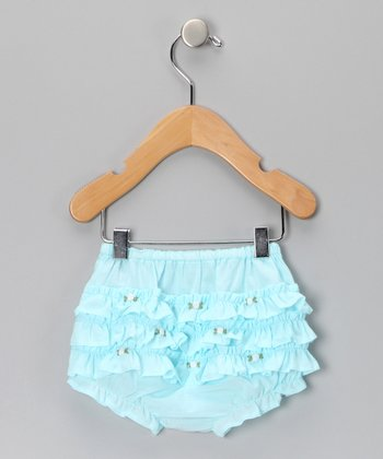 Aqua Rosette Ruffle Bloomers - Infant