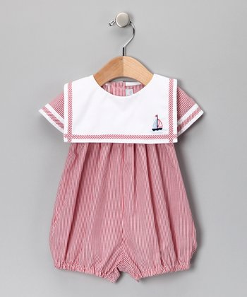 Red Stripe Sailor Bubble Romper - Infant