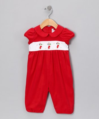 Red Candy Cane Romper - Infant