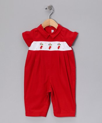 Red Smocked Stocking Romper - Infant