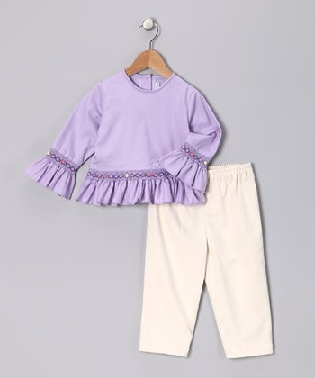 Lavender Smocked Top & Ivory Pants - Infant, Toddler & Girls
