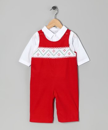 White Button-Up & Red Corduroy Smocked Overalls - Infant